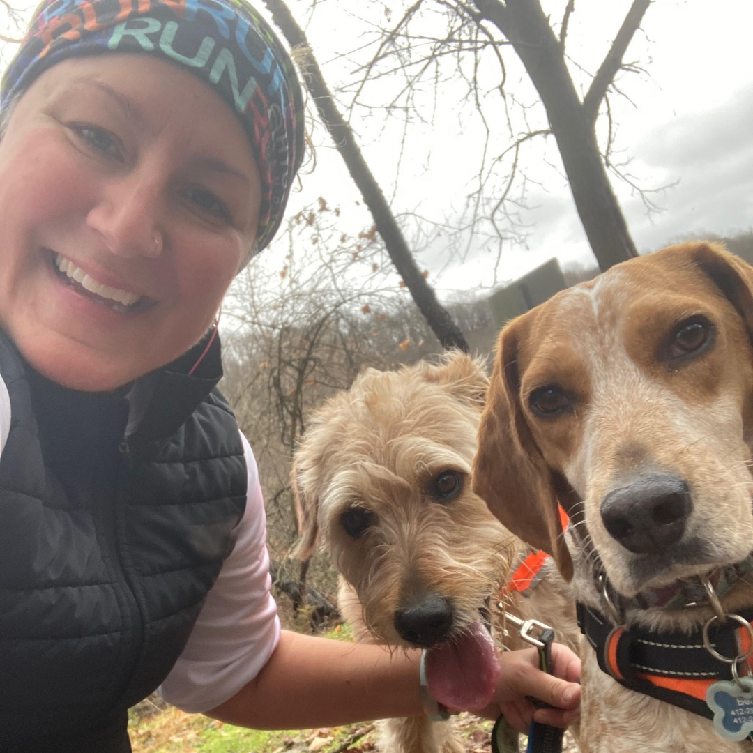 Erin Hubbard, female p3r ambassador, shown with her two dogs.